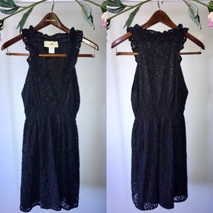 Black Lace Dress with Pockets